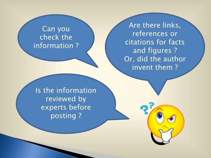 Are there links, references or citations for facts and figures ?
