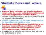 students desks and lockers