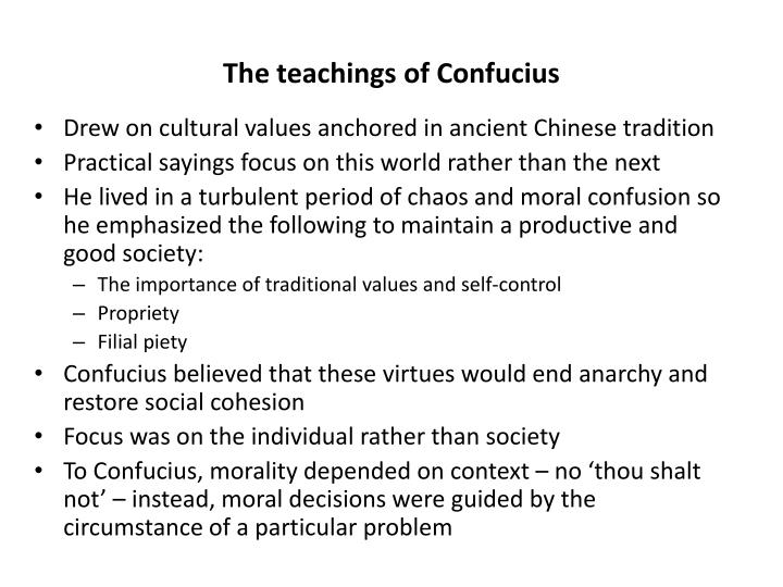 The teachings of Confucius
