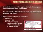 authorizing aid direct deposit