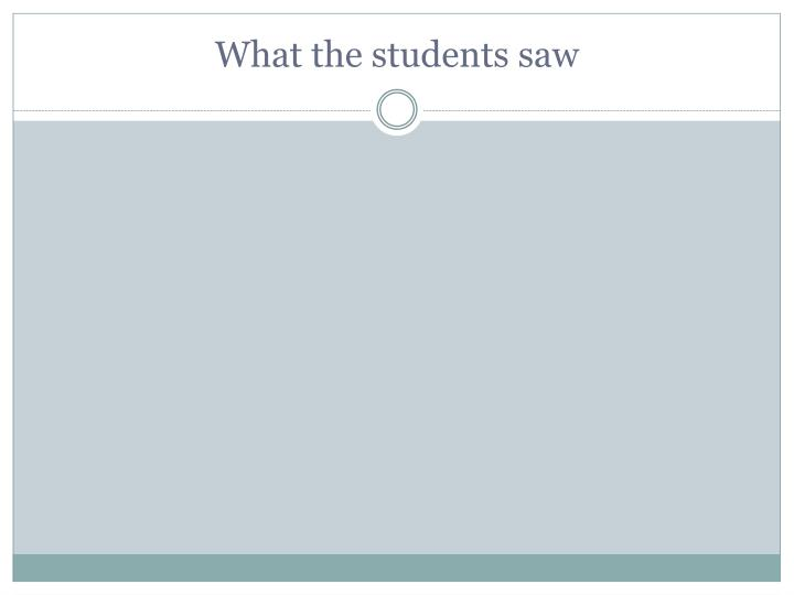 What the students saw