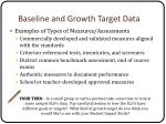 baseline and growth target data