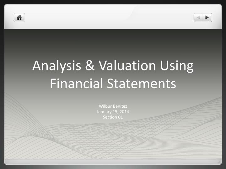 analysis valuation using financial statements n.