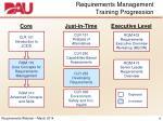 requirements management training progression