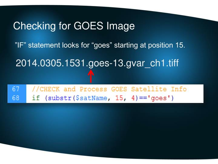 Checking for GOES Image