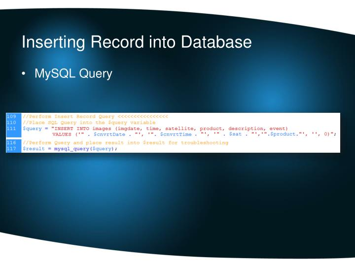 Inserting Record into Database