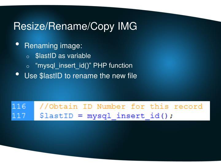 Resize/Rename/Copy IMG