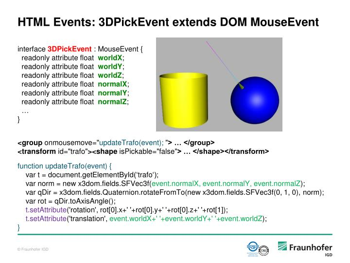 HTML Events: 3DPickEvent extends DOM