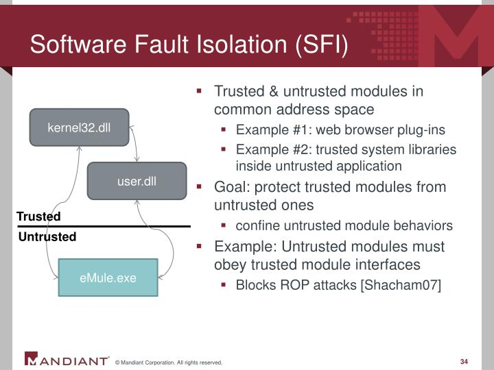 Software Fault Isolation (SFI)