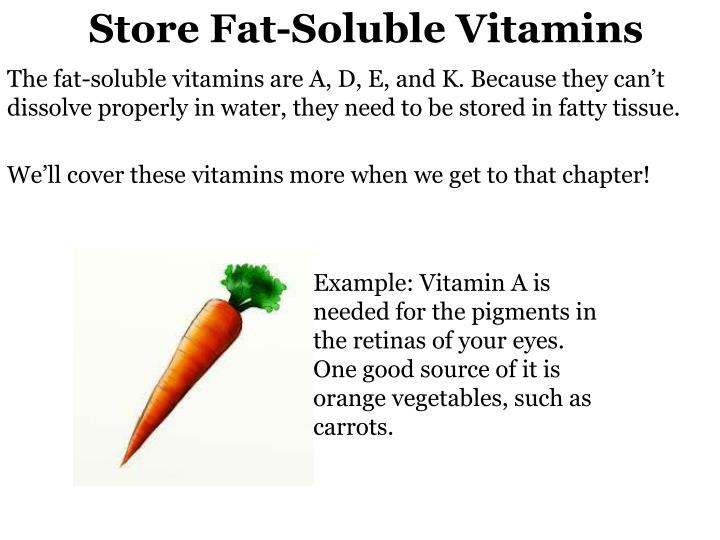Store Fat-Soluble Vitamins