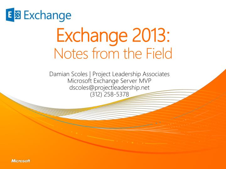 exchange 2013 notes from the field n.