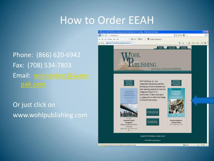 How to Order EEAH