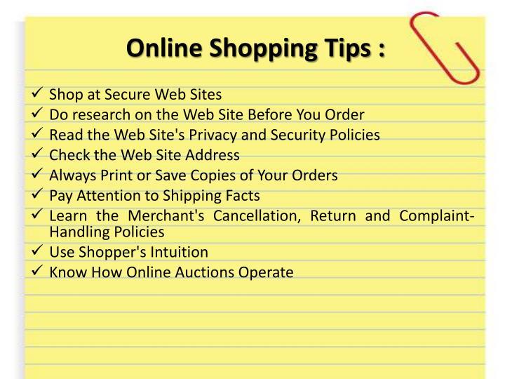 Online Shopping Tips :