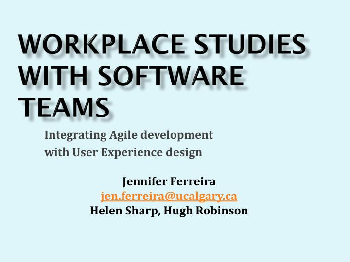 workplace studies with software teams n.