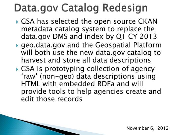 Data.gov Catalog Redesign