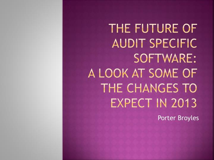 the future of audit specific software a look at some of the changes to expect in 2013 n.