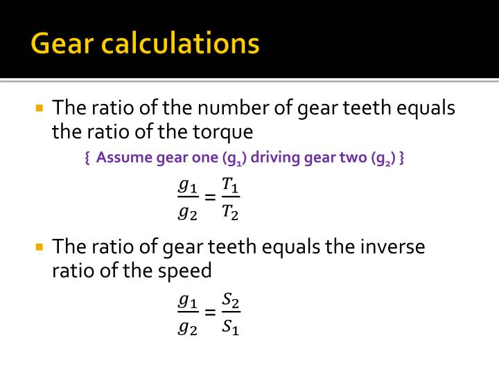 Gear calculations