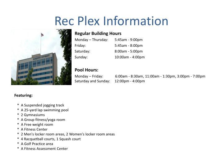 Rec Plex Information