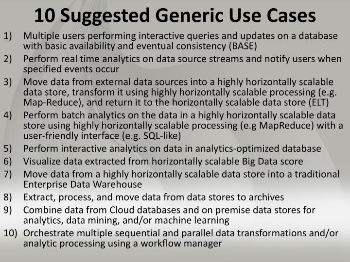 10 Suggested Generic Use Cases