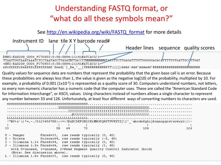 Understanding FASTQ format, or