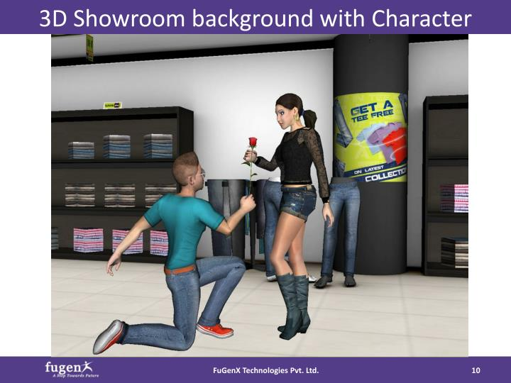 3D Showroom background with Character