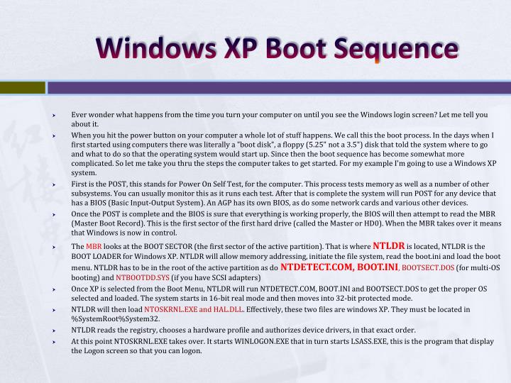 Windows XP Boot