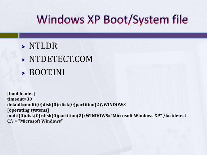Windows XP Boot/System file