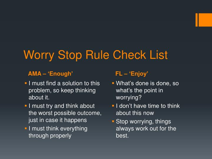 Worry Stop Rule Check List