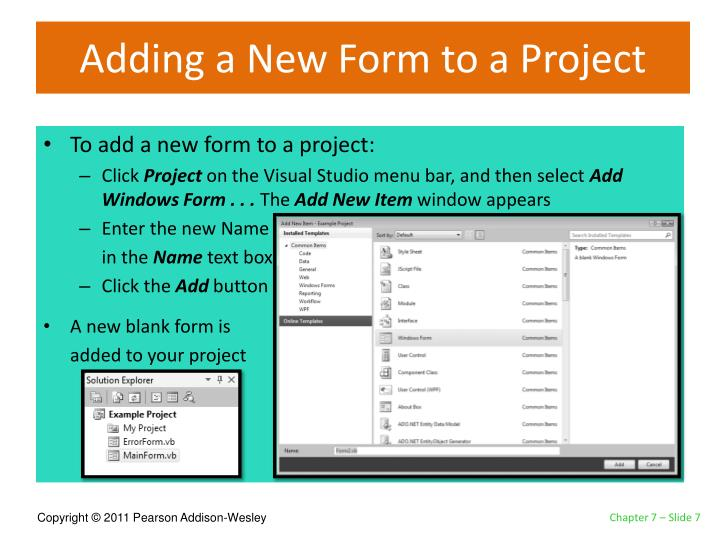 Adding a New Form to a Project