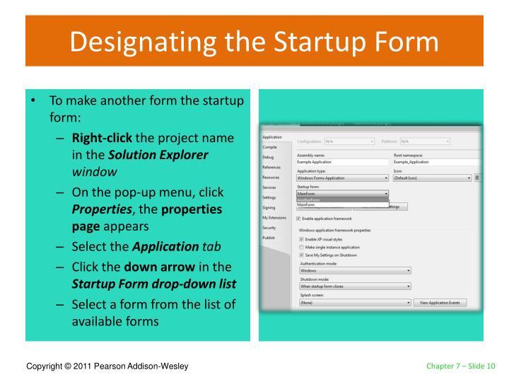 Designating the Startup Form