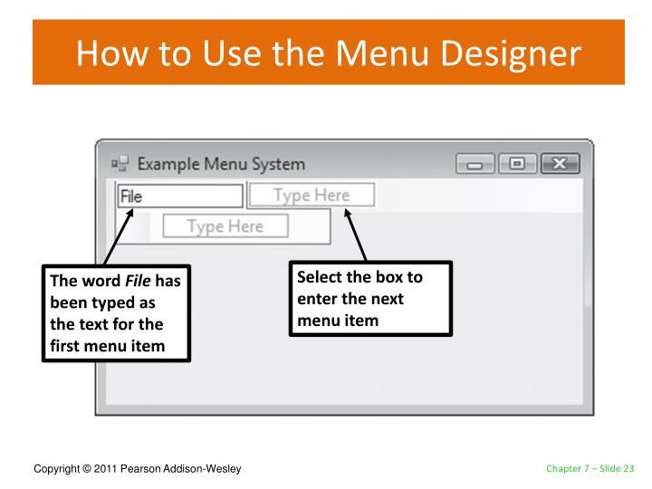How to Use the Menu Designer
