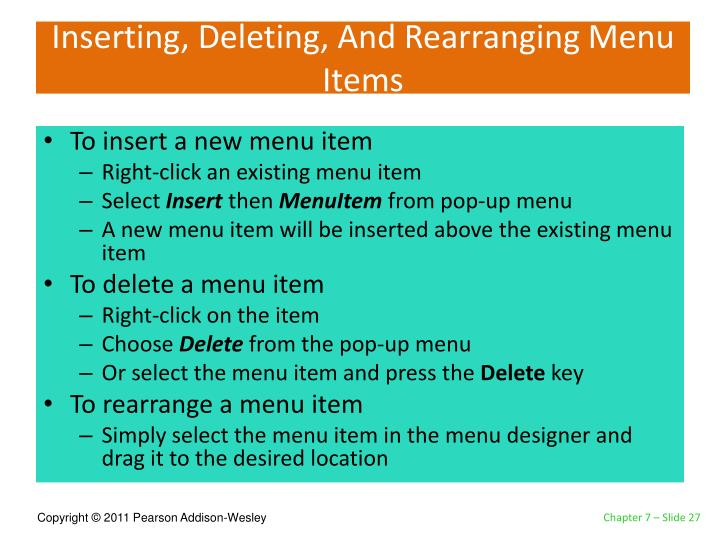 Inserting, Deleting, And Rearranging Menu Items