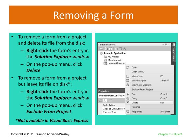 Removing a Form