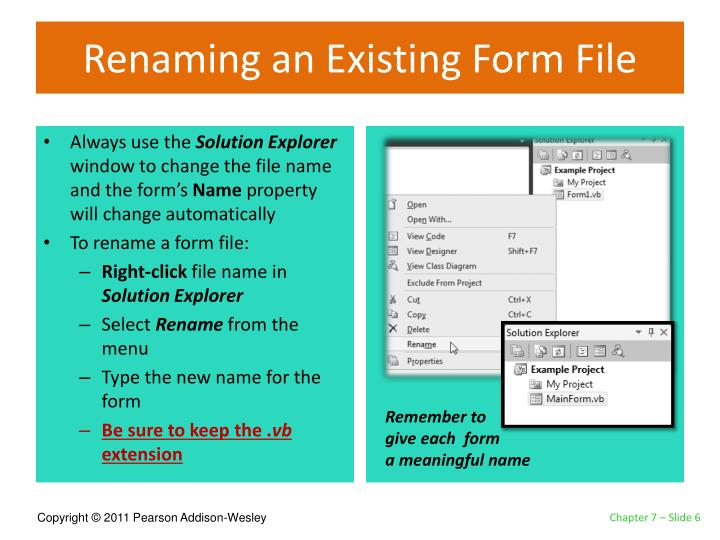 Renaming an Existing Form File