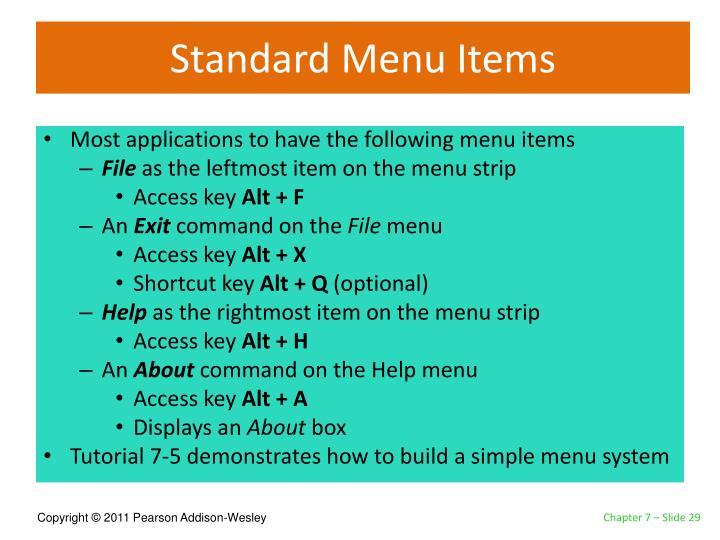 Standard Menu Items