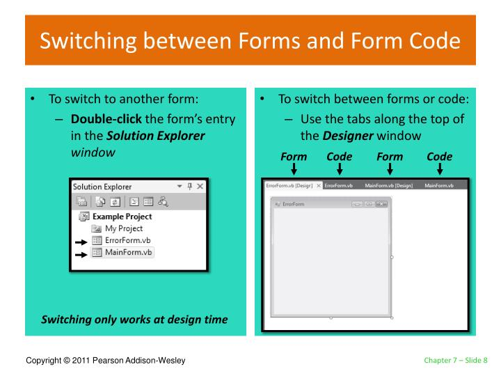 Switching between Forms and Form Code