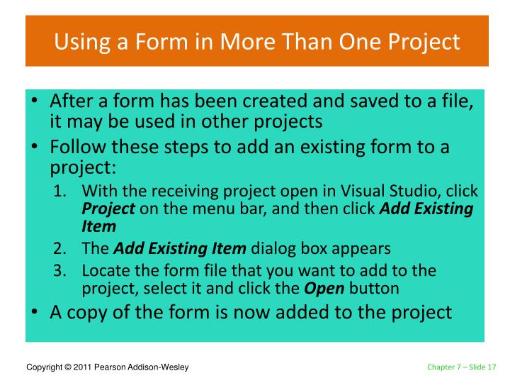 Using a Form in More Than One Project
