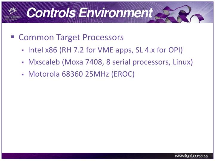 Controls environment