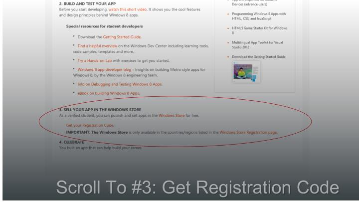 Scroll To #3: Get Registration Code
