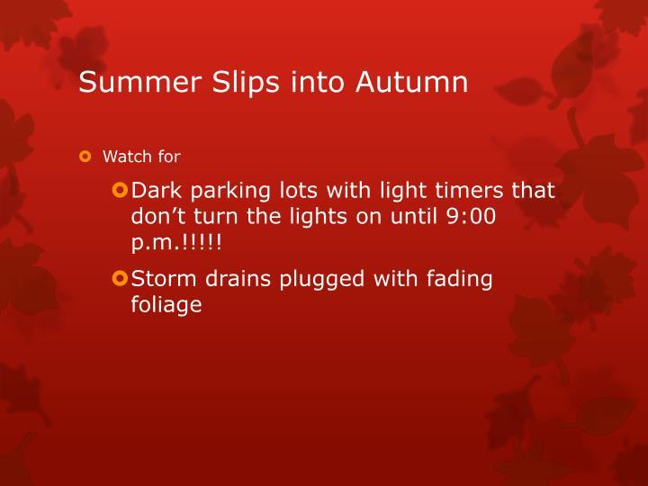 Summer slips into autumn