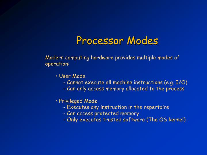 Modern computing hardware provides multiple modes of