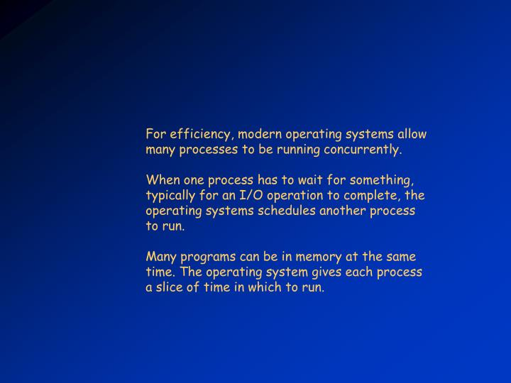 For efficiency, modern operating systems allow