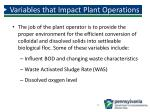 variables that impact plant operations