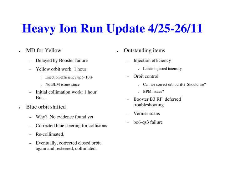 Heavy Ion Run Update 4/25-26/11
