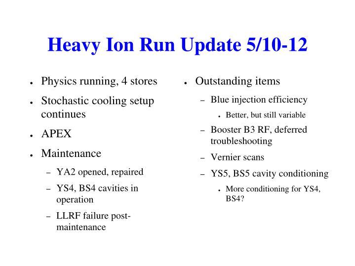 Heavy Ion Run Update 5/10-12