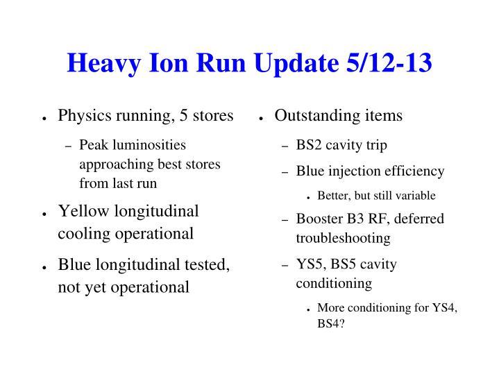 Heavy Ion Run Update 5/12-13