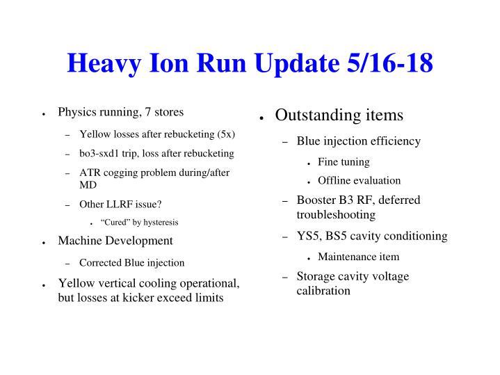 Heavy Ion Run Update 5/16-18