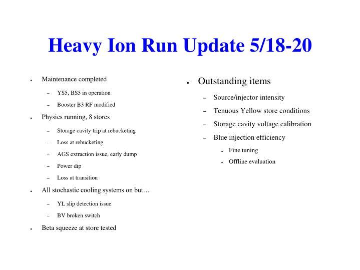 Heavy Ion Run Update 5/18-20
