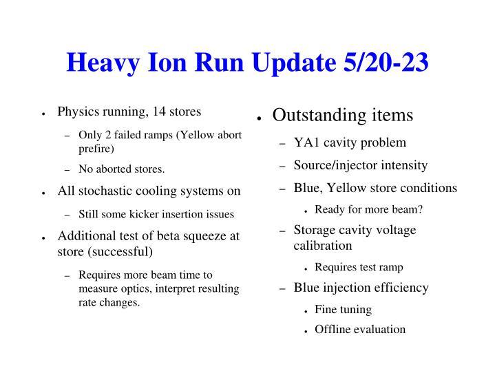 Heavy Ion Run Update 5/20-23