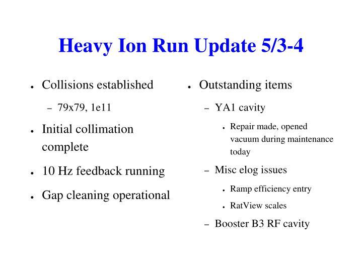 Heavy Ion Run Update 5/3-4
